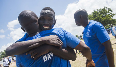 """""""UN Family"""" competes in friendly games at the first United Nations South Sudan Sports Day"""