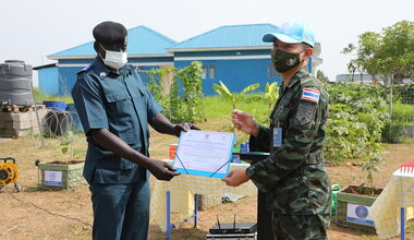 UNMISS displaced civilians vocational training organic farming sustainable agriculture Thailand peacekeepers UN peacekeeping South Sudan