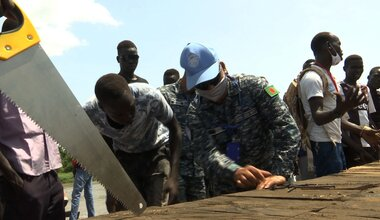 unmiss south sudan protection of civilians marine engineers CIMIC jetty humanitarian assistance floods Malakal peacekeepers peacekeeping Sobat Adong vocational training women
