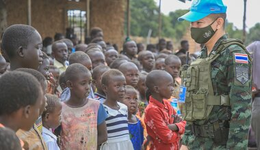 unmiss south sudan lainya school thailand thai peacekeepers handover educational material sports equipment clothes fans chairs