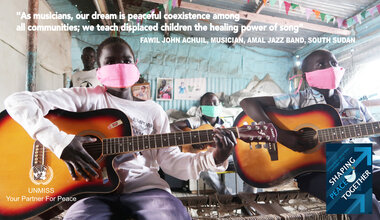 Music UNMISS Malakal displaced children displaced teenagers peacebuilding South Sudan International Day of Peace