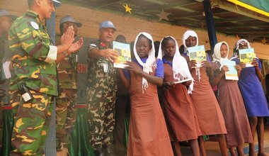 Peacekeepers give more than a thousand text books to girls' school in Wau South Sudan Bangladesh UNMISS
