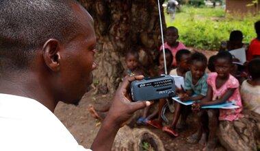 UNMISS South Sudan Peacekeepers Yambio Village COVID-19 Coronavirus Peacekeeping Radio Miraya solar-powered radios education