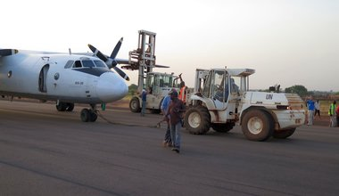 UNMISS fire response teams remove swiftly crash-landed plane from runway