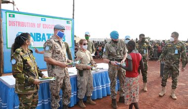 unmiss south sudan wau internally displaced people students school donation textbooks
