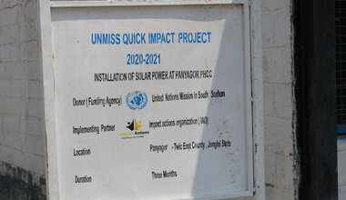 UNMISS sustainable energy solar power Quick Impact Projects Peacekeeping Peacekeepers South Sudan