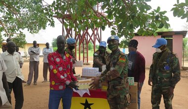 Ghanaian peacekeepers donate medicines for children to Akuem health facility in Aweil East County