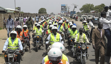 UNMISS chief rides with boda boda motorcyclists in campaign for peace and safety