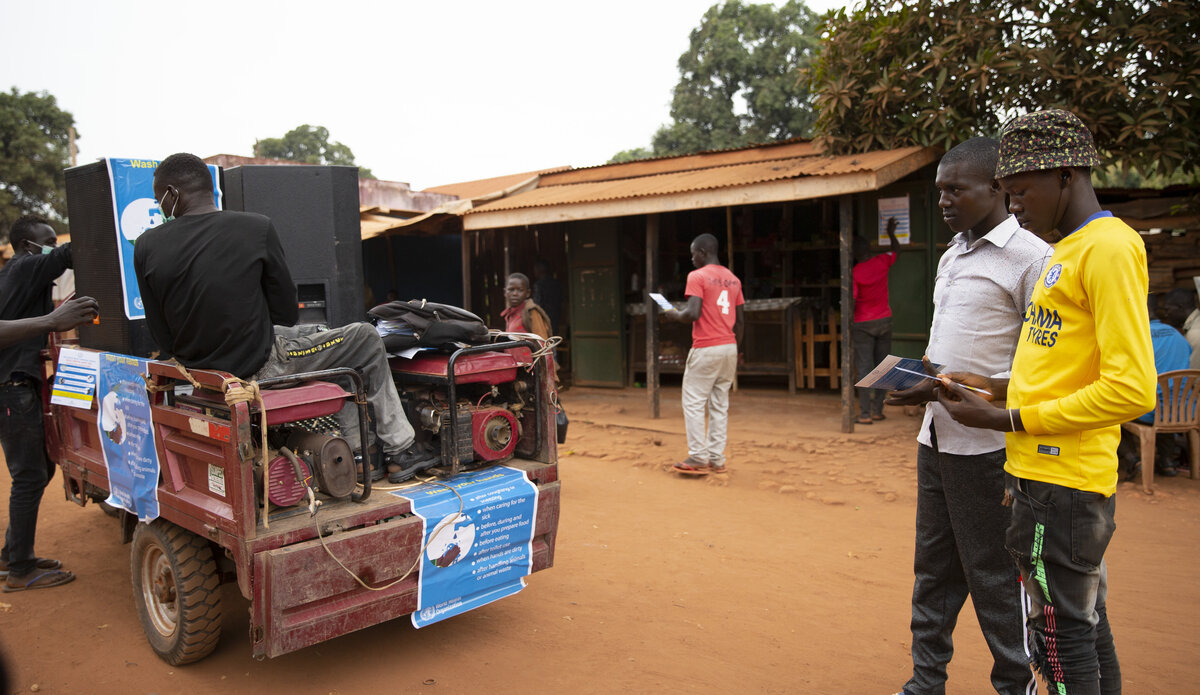 unmiss south sudan protection of civilians Yambio humanitarian assistance COVID-19 peacekeepers peacekeeping awareness-raising risk communication Coronavirus tricycle Anzara Western Equatoria