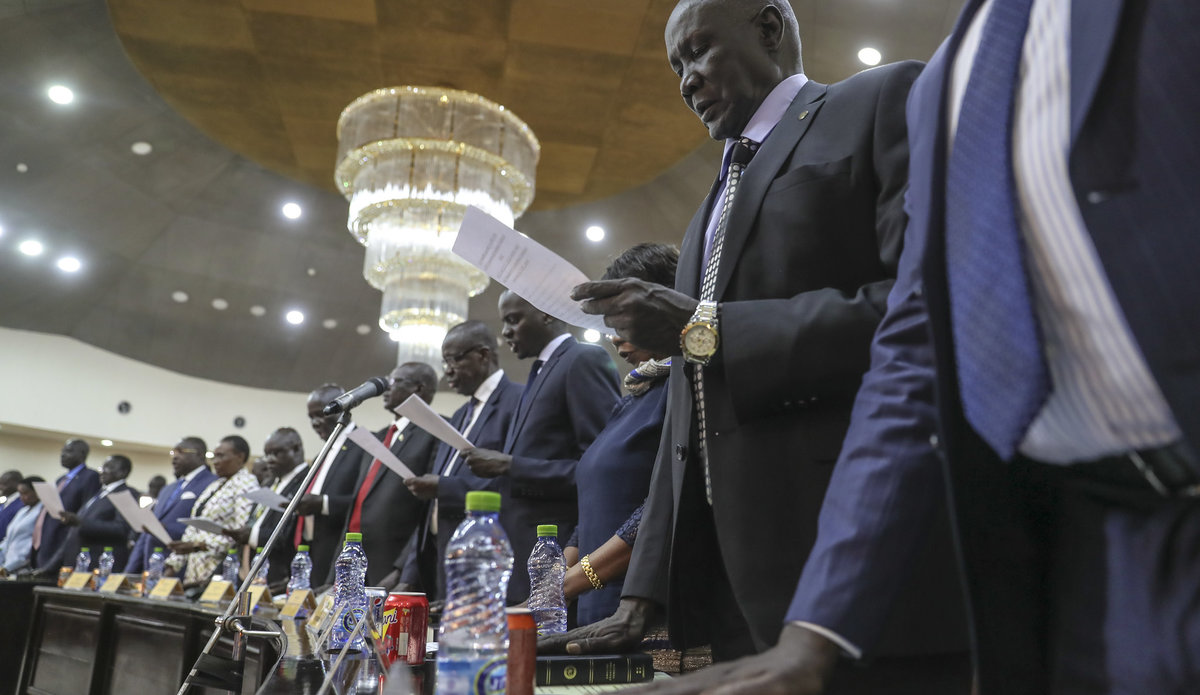 unmiss south sudan juba swearing in of new cabinet members ministers deputies covid-19 transitional government of national unity