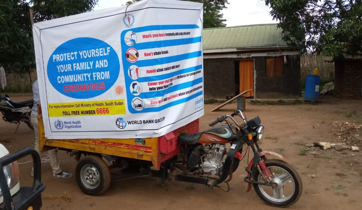 The UNMISS COVID-19 communications toolbox is huge. In fact, even a tricycle fits, like here, in rural Western Equatoria.