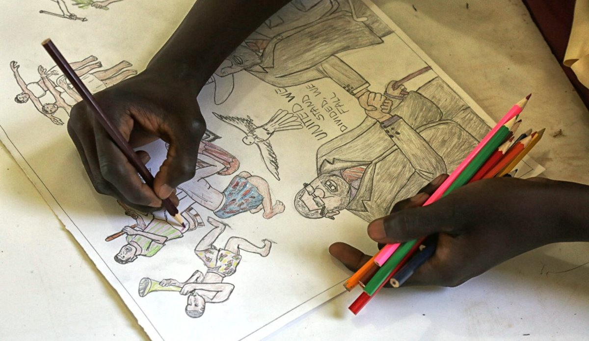 unmiss art for peace juba 24 may 2018 drawing painting students comedy cultural performances