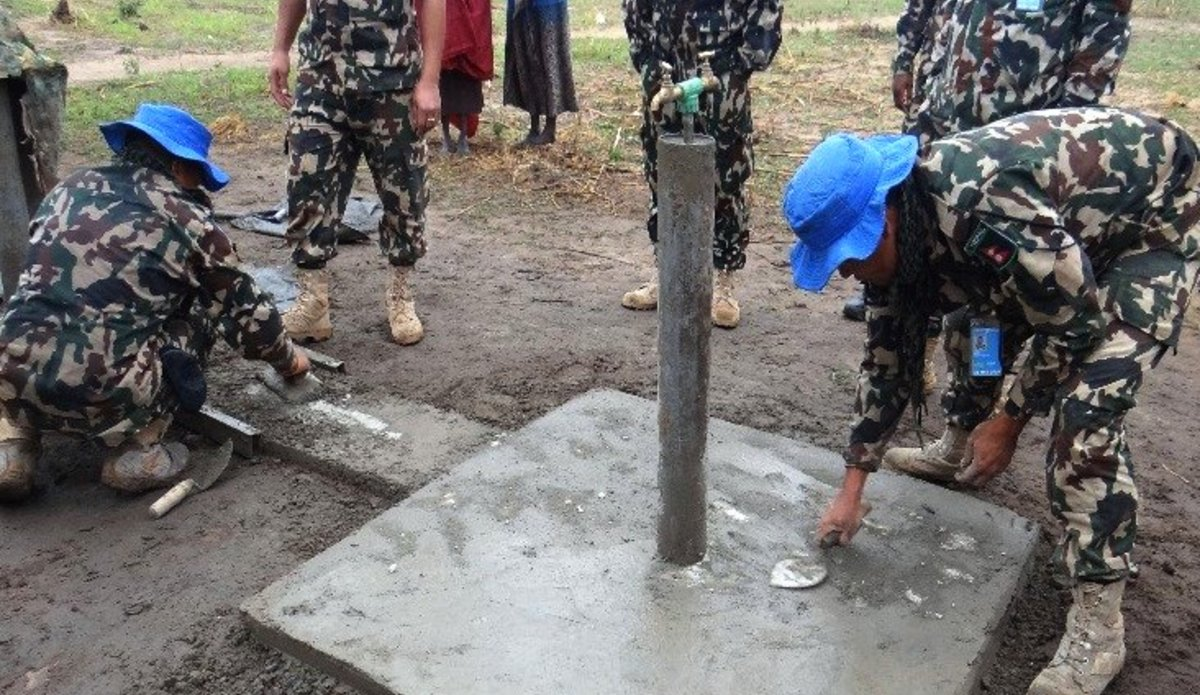 quick impact project unmiss south sudan nepalese peacekeepers rumbek water system taps installation