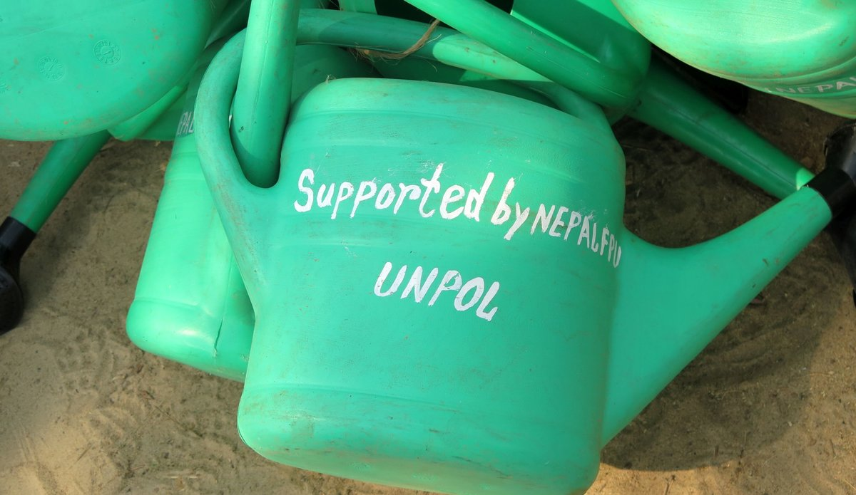 Nepalese peacekeepers donate gardening equipment to vulnerable South Sudanese