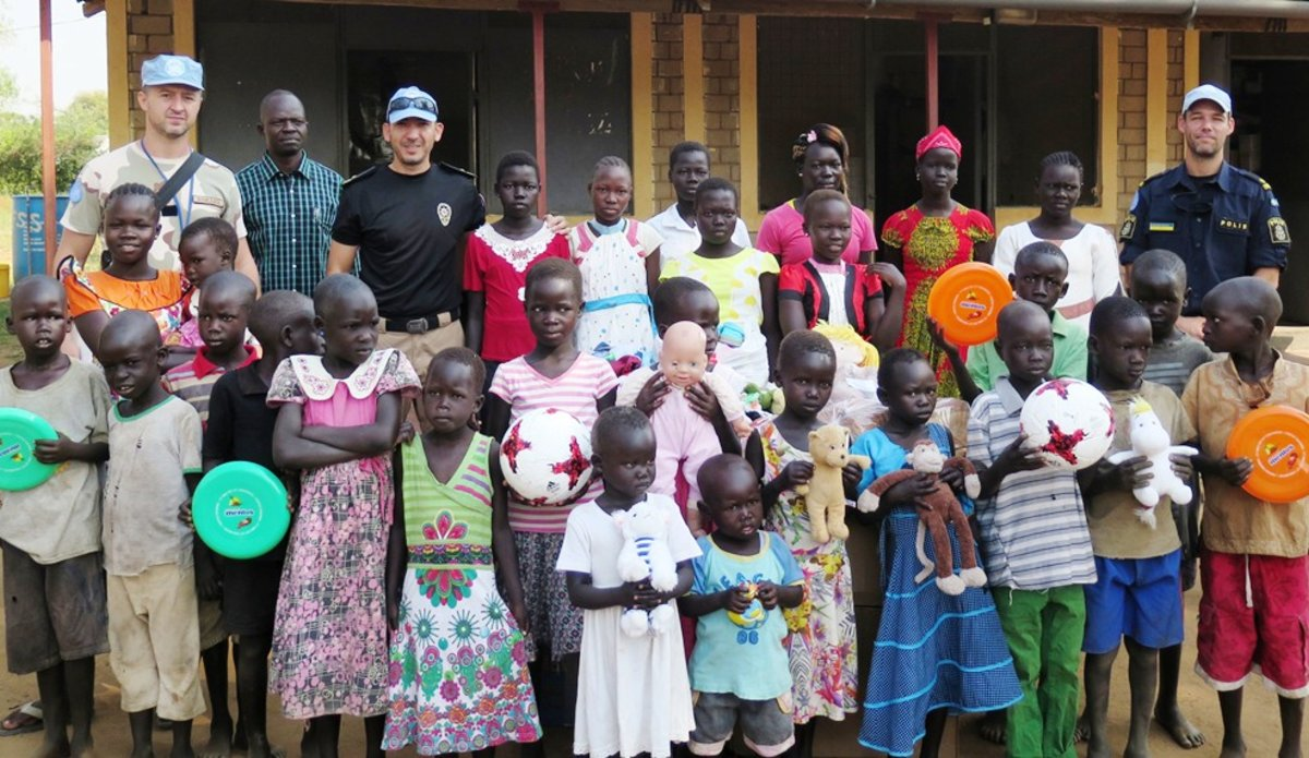 UNMISS Peacekeepers celebrate the arrival of 2018 at orphanage near Torit