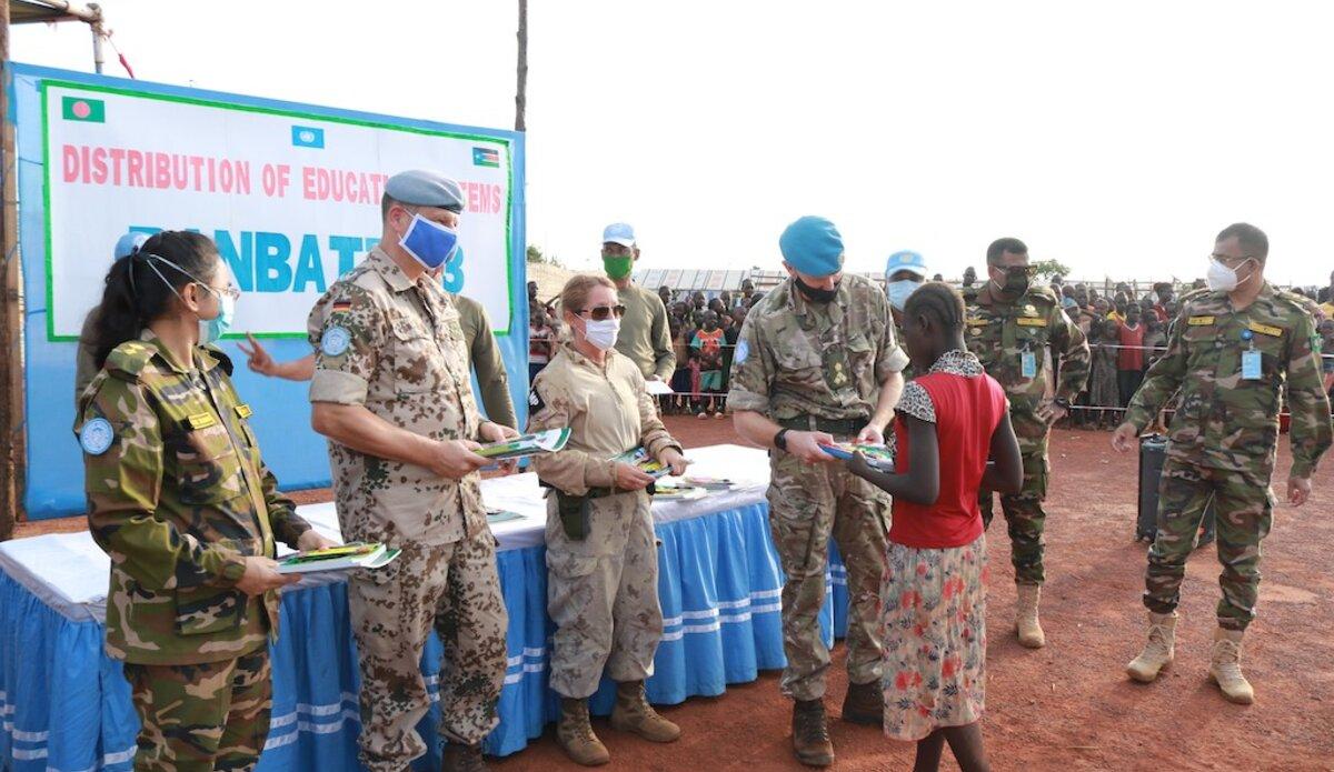 unmiss south sudan wau internally displaced people students school donation textbooks