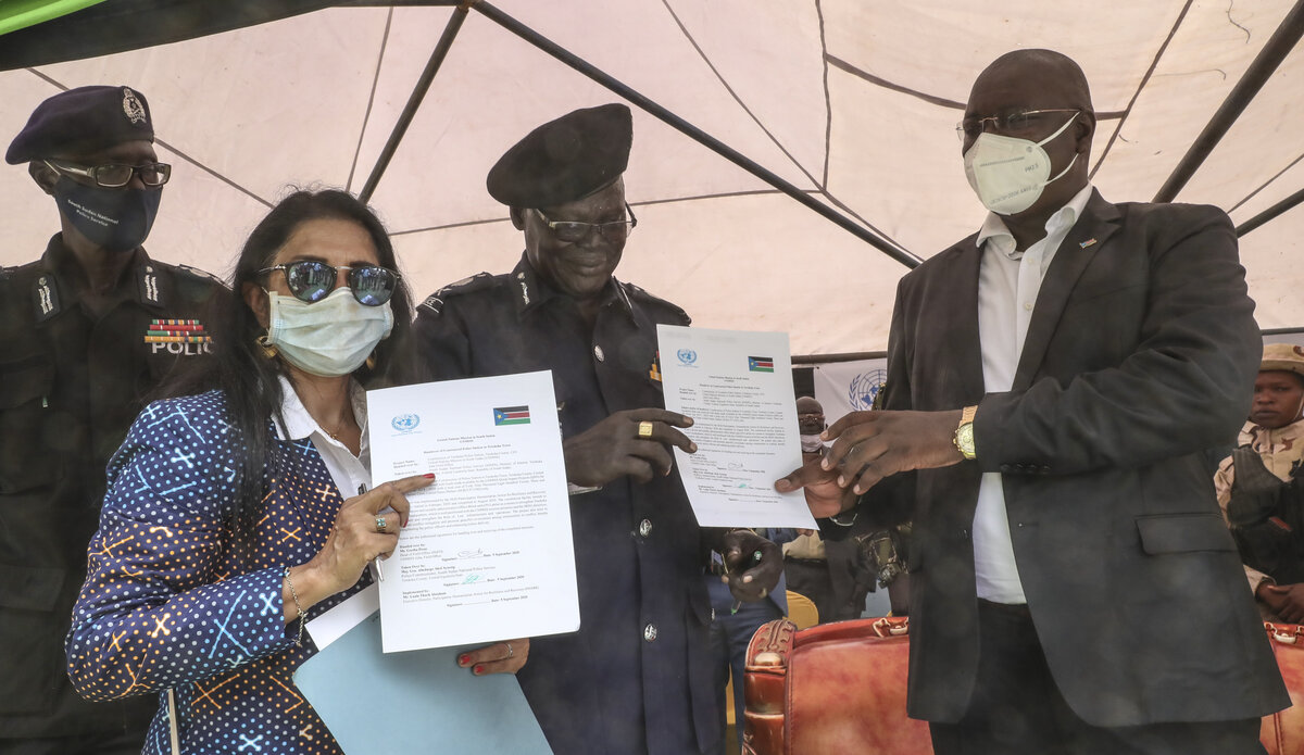 UNMISS Quick Impact Project Police Station SSNPS South Sudan Central Equatoria QIPs peace Unaisi Bolatolu-Vuniwaqa peacekeeping peacekeepers