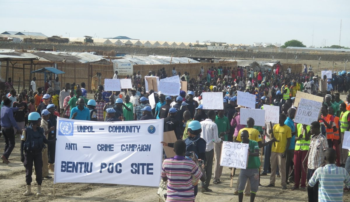 UN Police and community watch groups unite in the fight against crime in Bentiu PoC site