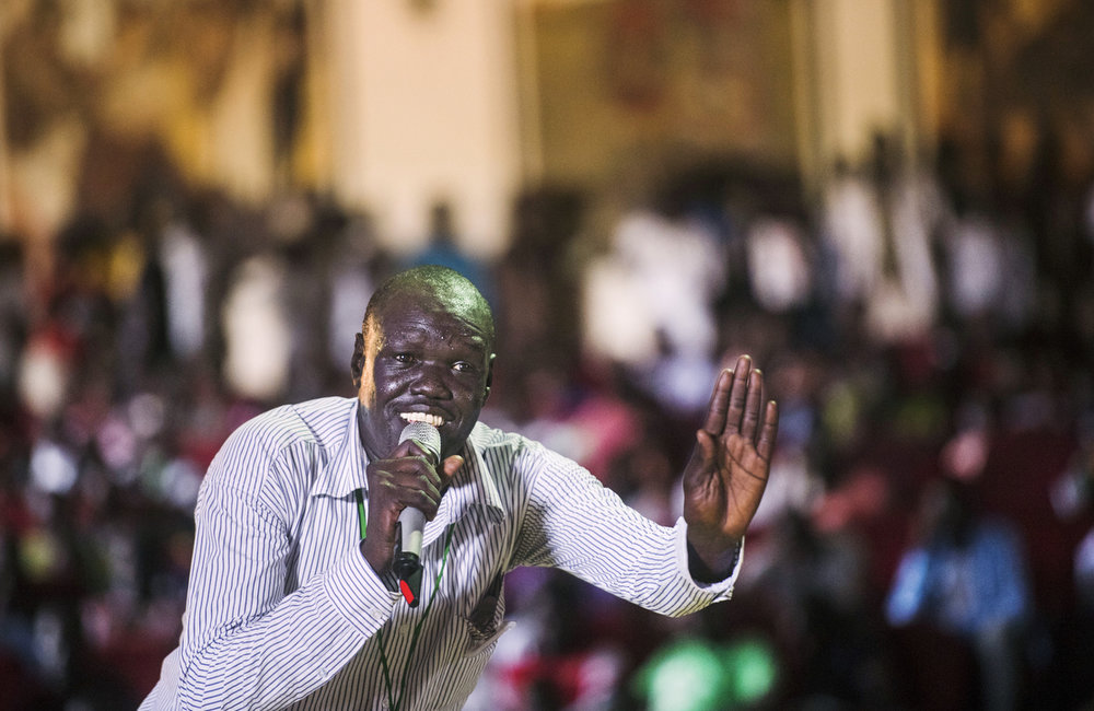 "Kon Kuol Kon performs during ""Comedy for Peace,"" an event supported by the United Nations Mission in South Sudan (UNMISS), held at the Nyakuron Cultural Centre on Sunday, 23 April in Juba."