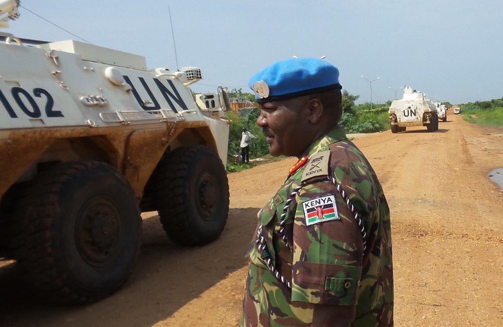 UNMISS Force Commander - Lieutenant General John Mogoa Kimani Ondieke inspects a patrol outside the POC in Juba.