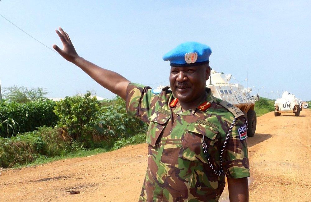 UNMISS Force Commander - Lieutenant General John Mogoa Kimani Ondieke outside of POC 1 in Juba.