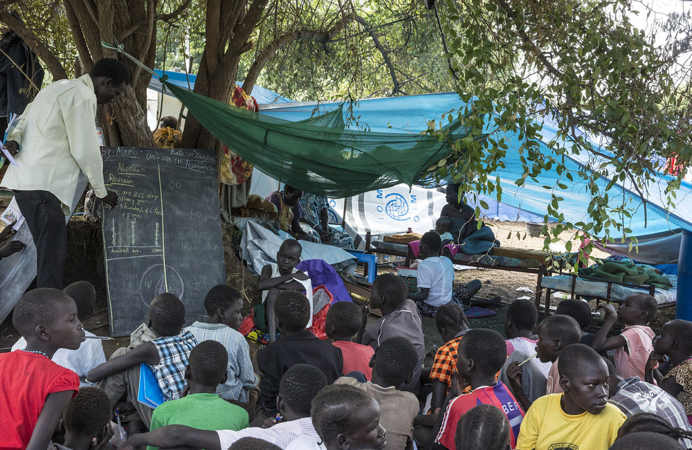 Temporary school opened for IDP's currently living in the UN base, Tomping
