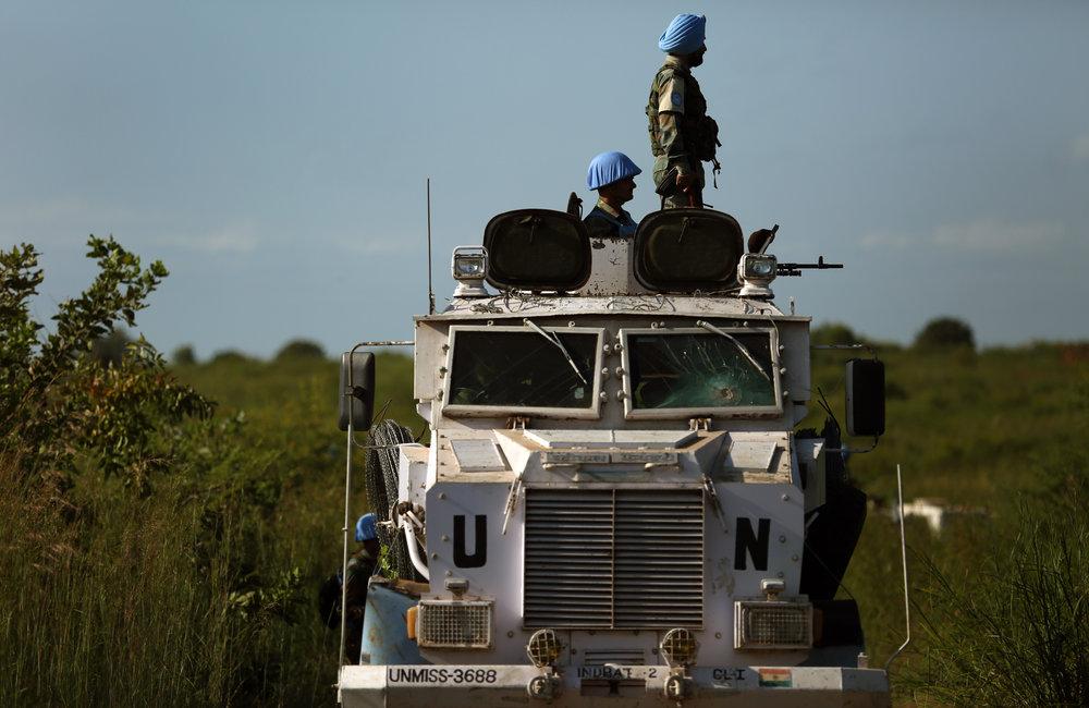 UNMISS Peacekeepers; INDBATT, ETHBATT, CHINBATT, UNPOL conduct weapons sweep operation along the western perimeter of PoC site 3, Jebel mountain, Juba