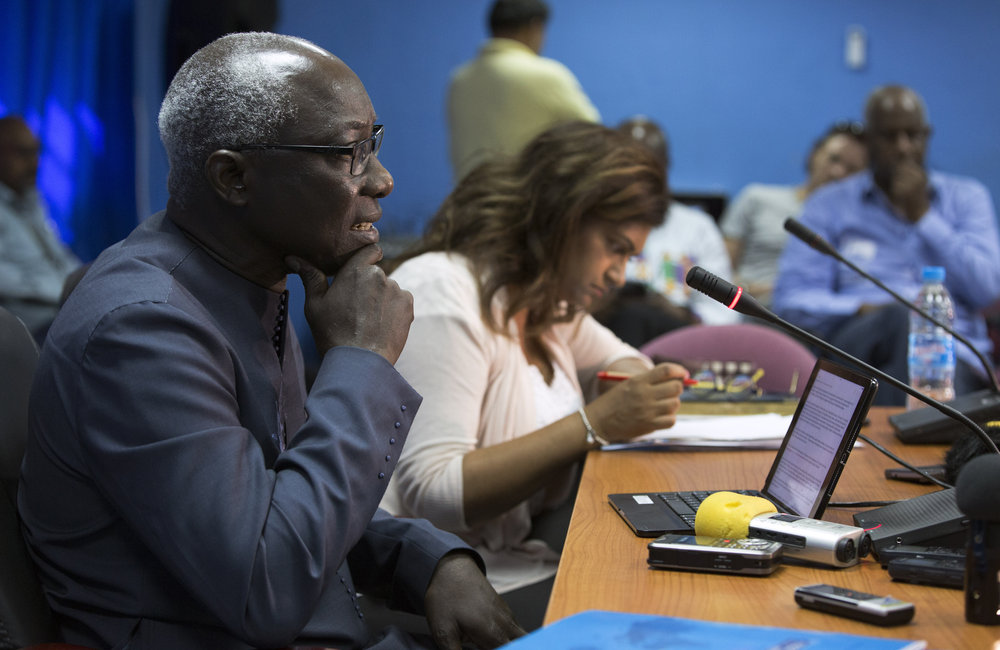 Adama Dieng, UN Special Adviser on the Prevention of Genocide, addresses a press conference in the UNMISS Tomping base in Juba