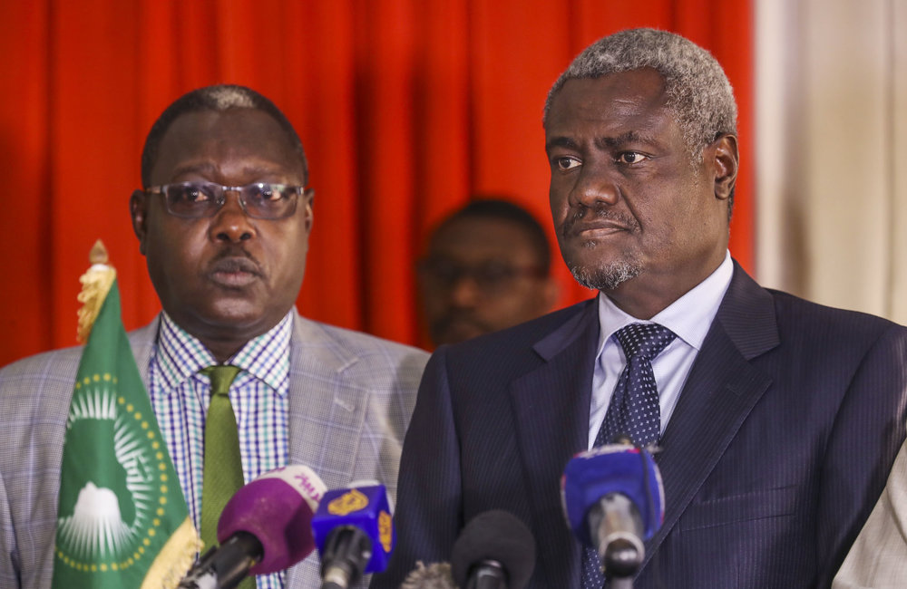 African Union Chairperson Moussa Faki Mohamat, on a two-day mission to South Sudan, condemned and denounced the killing of aid workers in the country.  He was speaking at a press conference in Juba International Airport, today March 27, 2017.