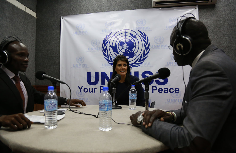 Nikki Haley, US Ambassador to the UN, engages in the work of UNMISS