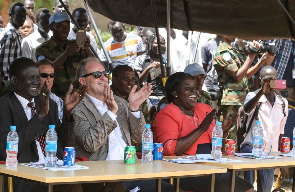 SRSG cheers on as Peacekeepers stage performance at the opening of Inter - University Peace League