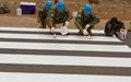 UNMISS Japanese peacekeepers paint zebra crossings in Juba
