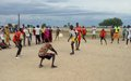 Displaced boys and girls in Bentiu receive volleyball training by UN peacekeepers