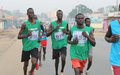 Military and police officers run for peace on International Human Rights Day in South Sudan