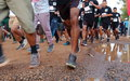 UN personnel run for peace and to raise awareness on World AIDS Day in South Sudan