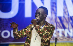 """Comedian, Kuech Deng Atem a.k.a Wokil, performs during the """"Comedy for Peace"""" event, supported by the United Nations Mission in South Sudan (UNMISS), held at the Nyakuron Cultural Centre on Sunday, 23 April in Juba.  The event featured the best of South Sudanese comedians and musical acts, including Emmanuel Kembe, Woklii, Feel Free, Lotole Captain Eddy, Kon Kuol Kon and more."""