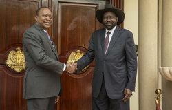 Uhuru Kenyatta, President of Kenya, meets with President Kiir, in Juba