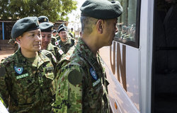 Japanese engineer troops, capable of coming to the aid of individuals related to UN operation under certain limited conditions, have arrived to serve the mission.